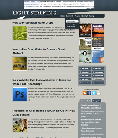 Light Stalking BuddyPress Template Design